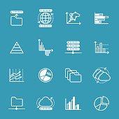 Data storage and data analysis icons