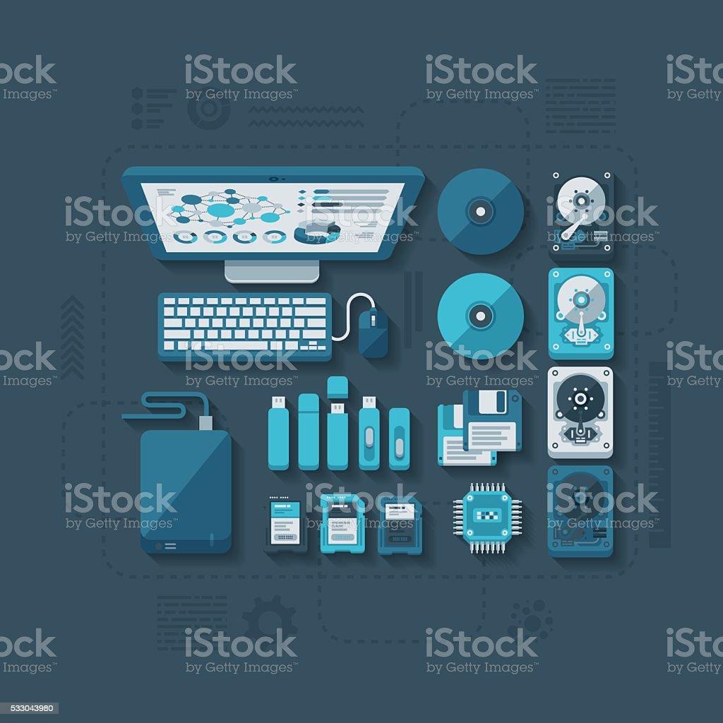 Data Storage Flat Design Concept vector art illustration