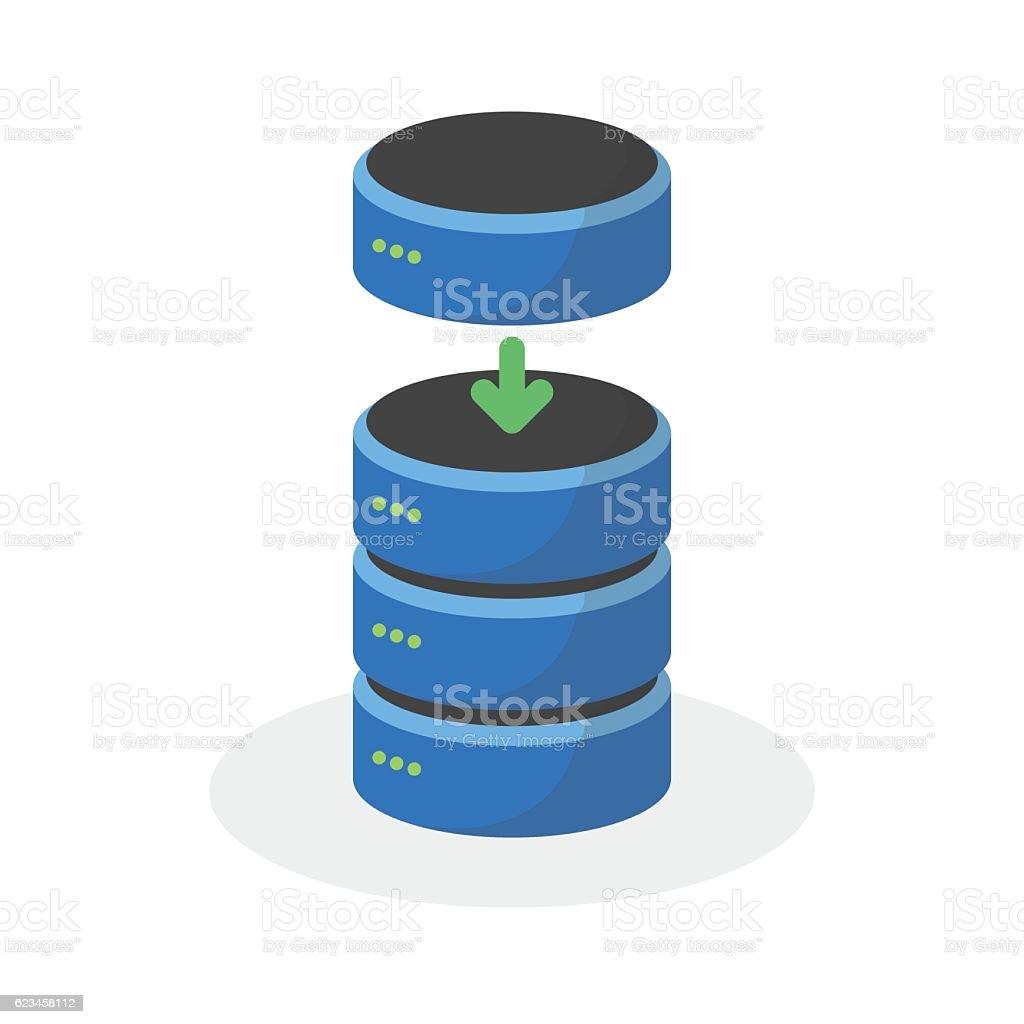 Data storage icon with add base storage, ESP10 vector art illustration