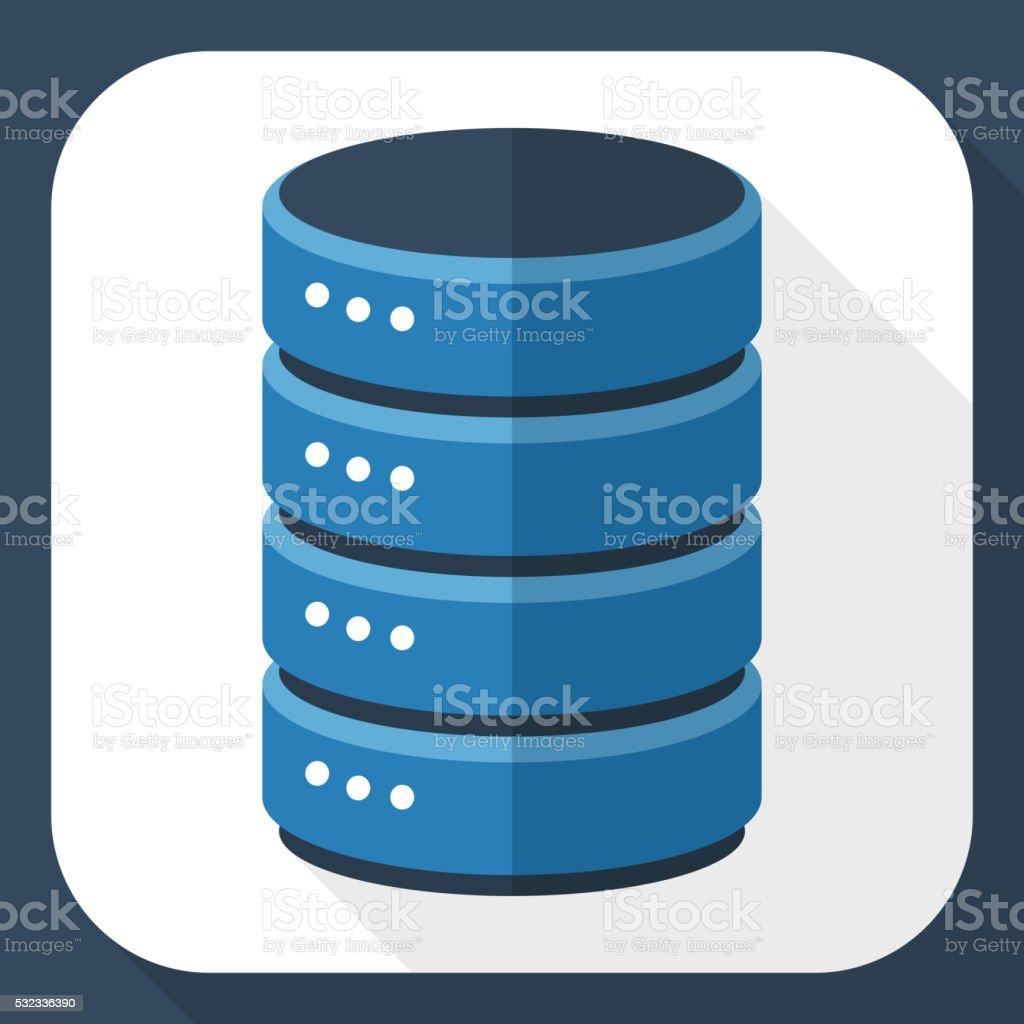 Data storage icon with long shadow vector art illustration