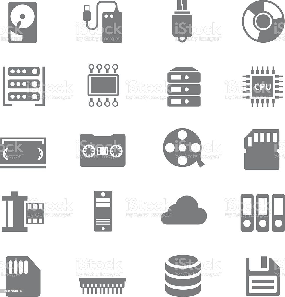 Data storage icons set vector art illustration