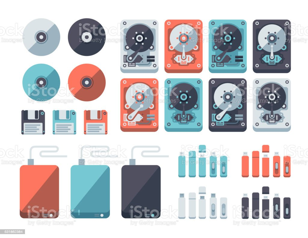 Data Storage Media Flat Design Set vector art illustration