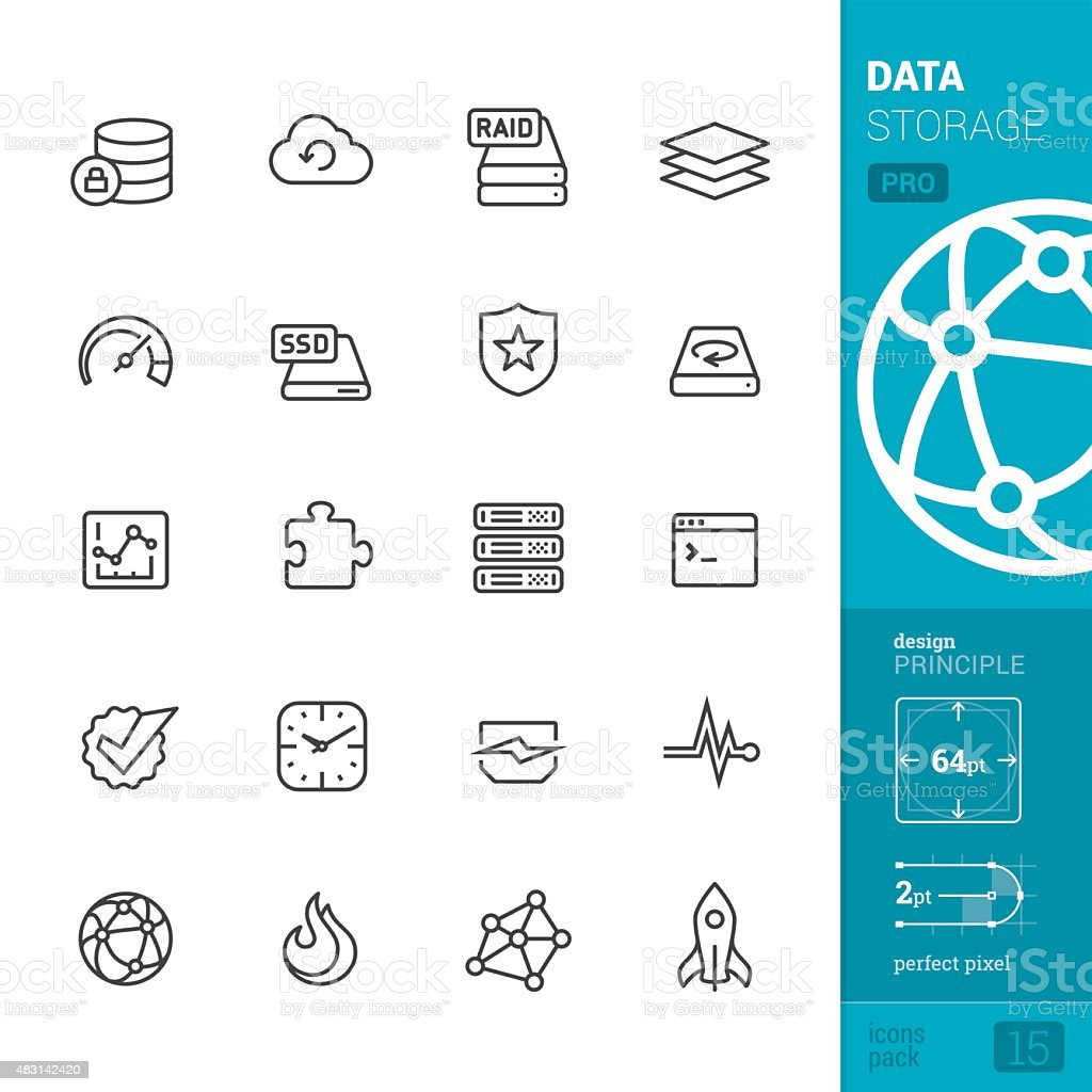 Data storage related vector icons - PRO pack vector art illustration