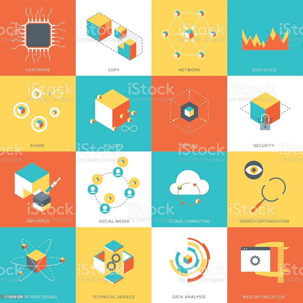 Data Theme, flat style vector icons vector art illustration