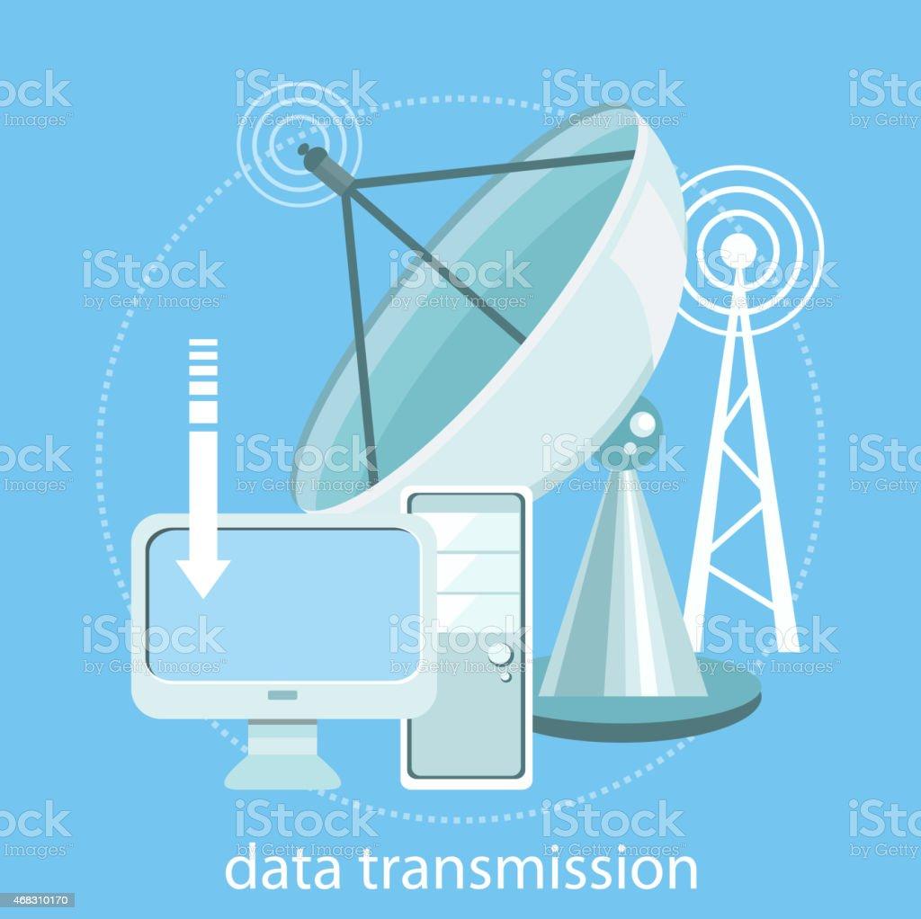 Data transmission vector art illustration