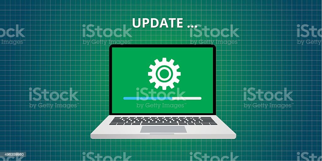 data update or synchronize with bar process vector art illustration