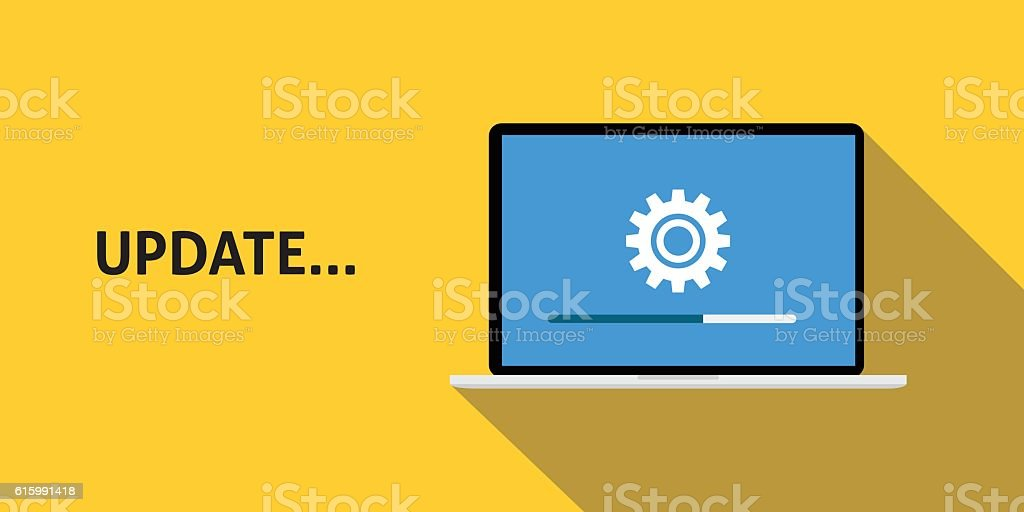 data update or synchronize with bar process  yellow background and vector art illustration
