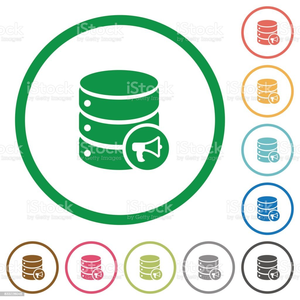 Database alerts flat icons with outlines vector art illustration