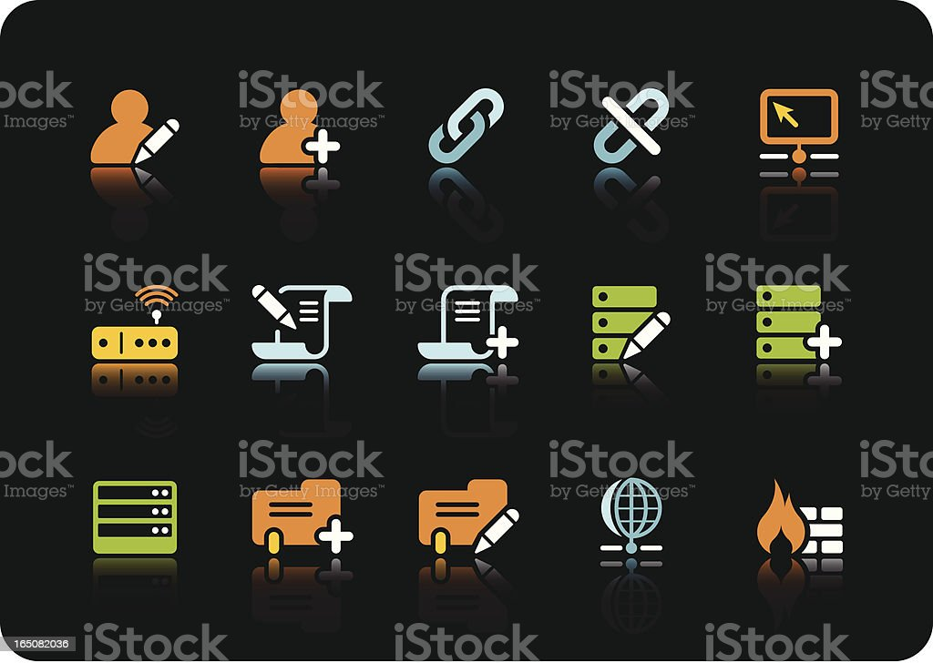 Database & Network icons | color series royalty-free stock vector art