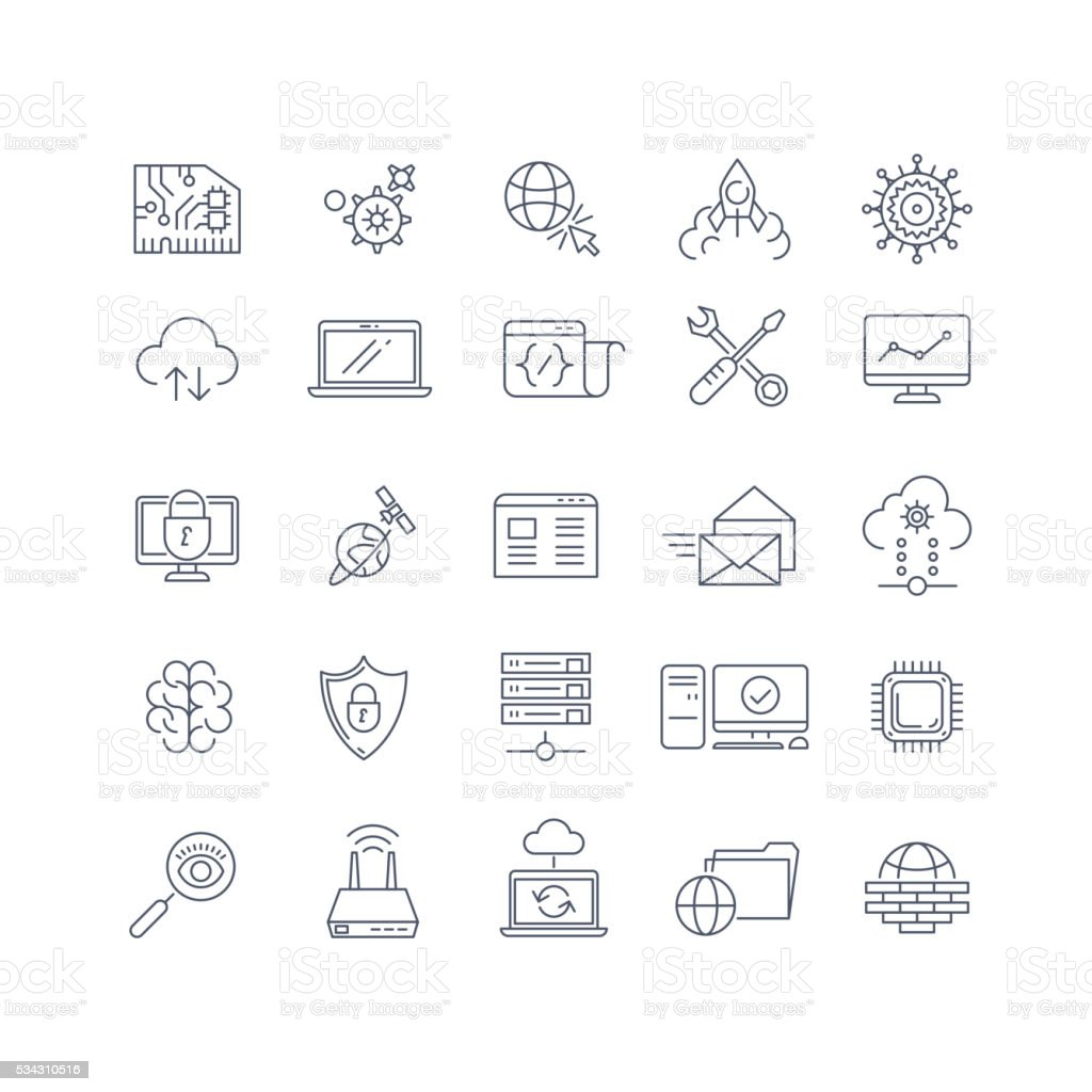 Database analytics and cloud computing vector line icons vector art illustration