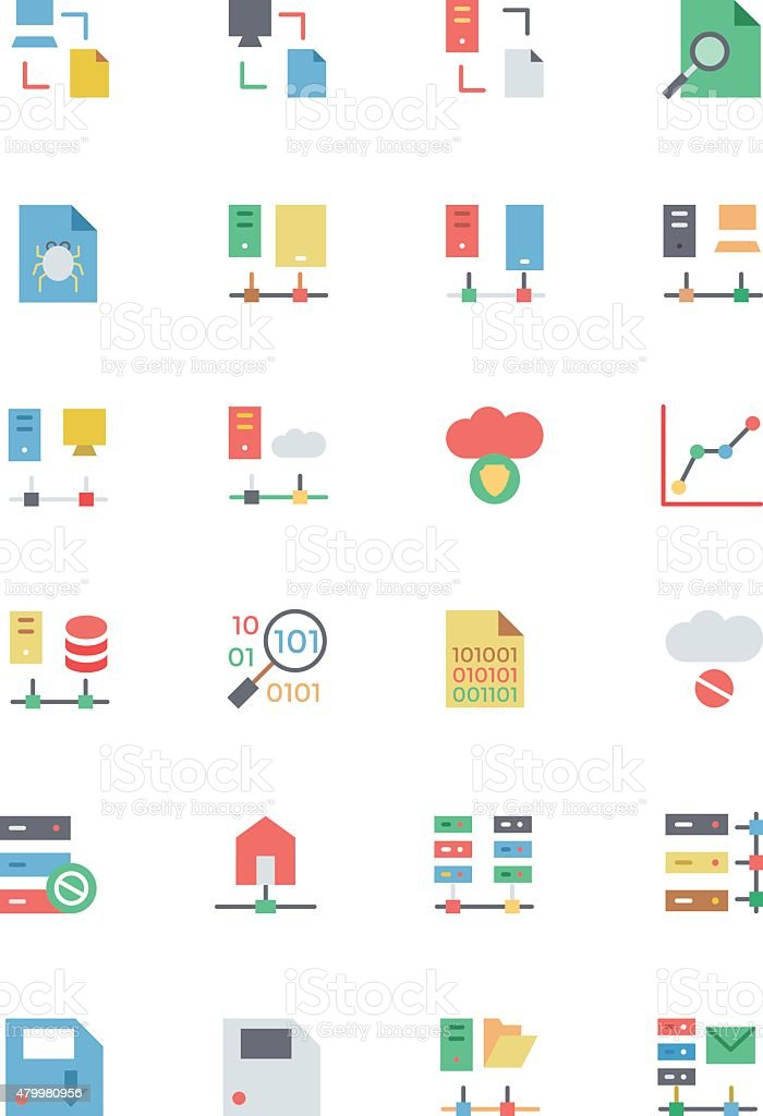 Database and Server Colored Vector Icons 5 vector art illustration