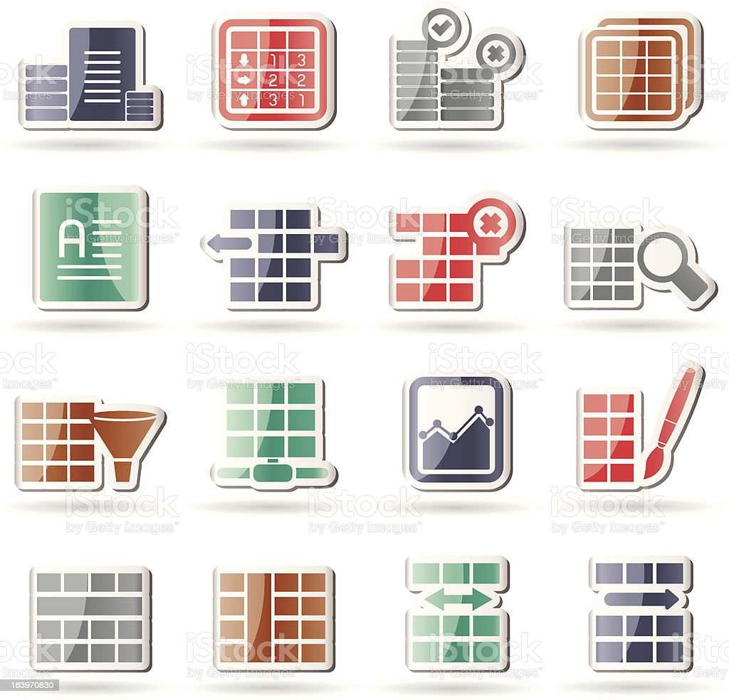 Database and Table Formatting Icons royalty-free stock vector art