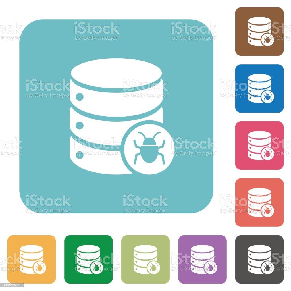 Database bug rounded square flat icons vector art illustration