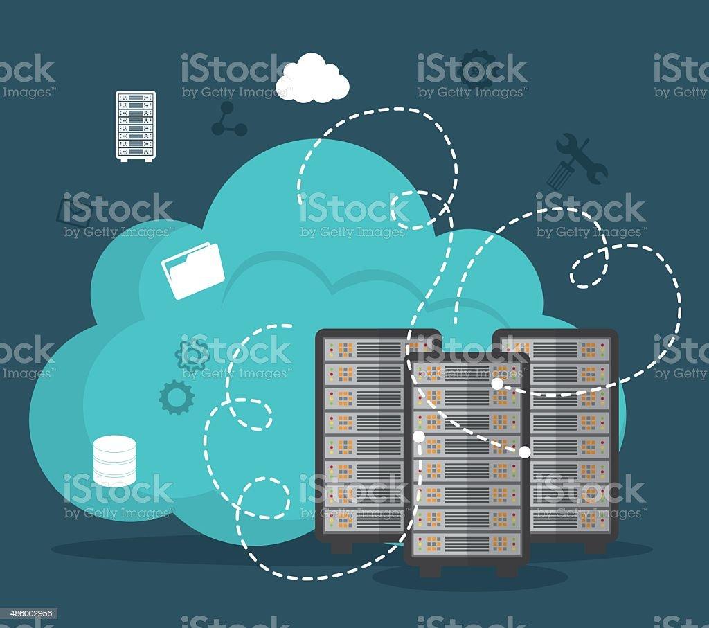 Database digital design. vector art illustration