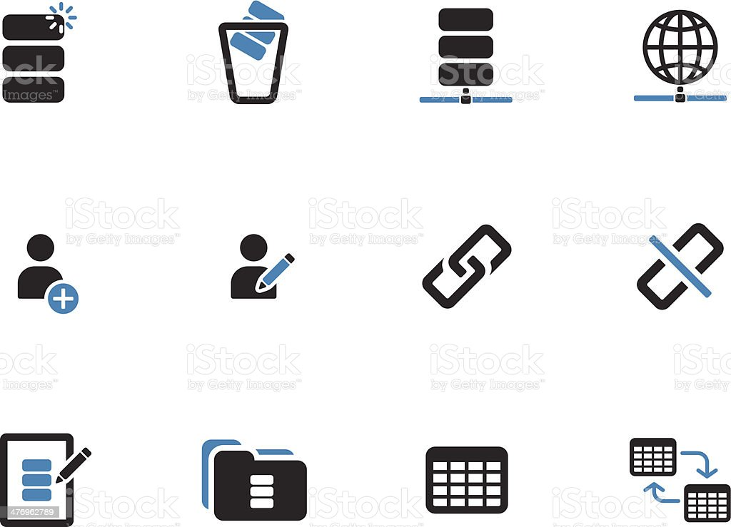 Database duotone icons on white background. vector art illustration