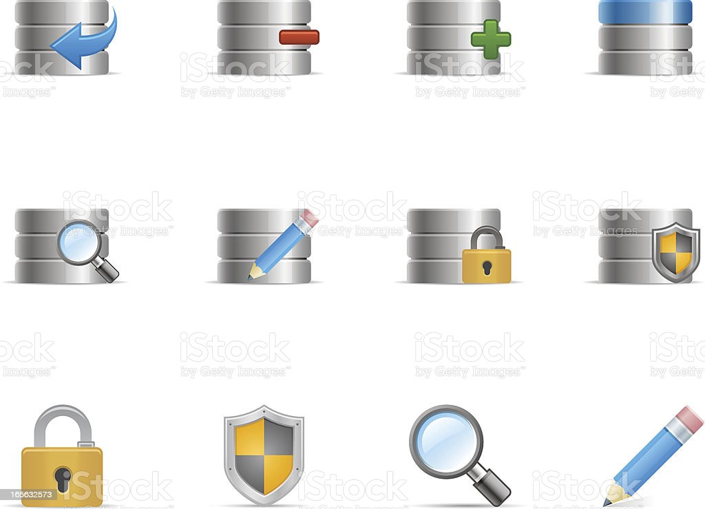 Database Icon Set | Optima Series royalty-free stock vector art