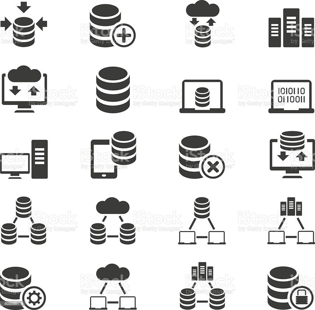 Database icon set vector art illustration