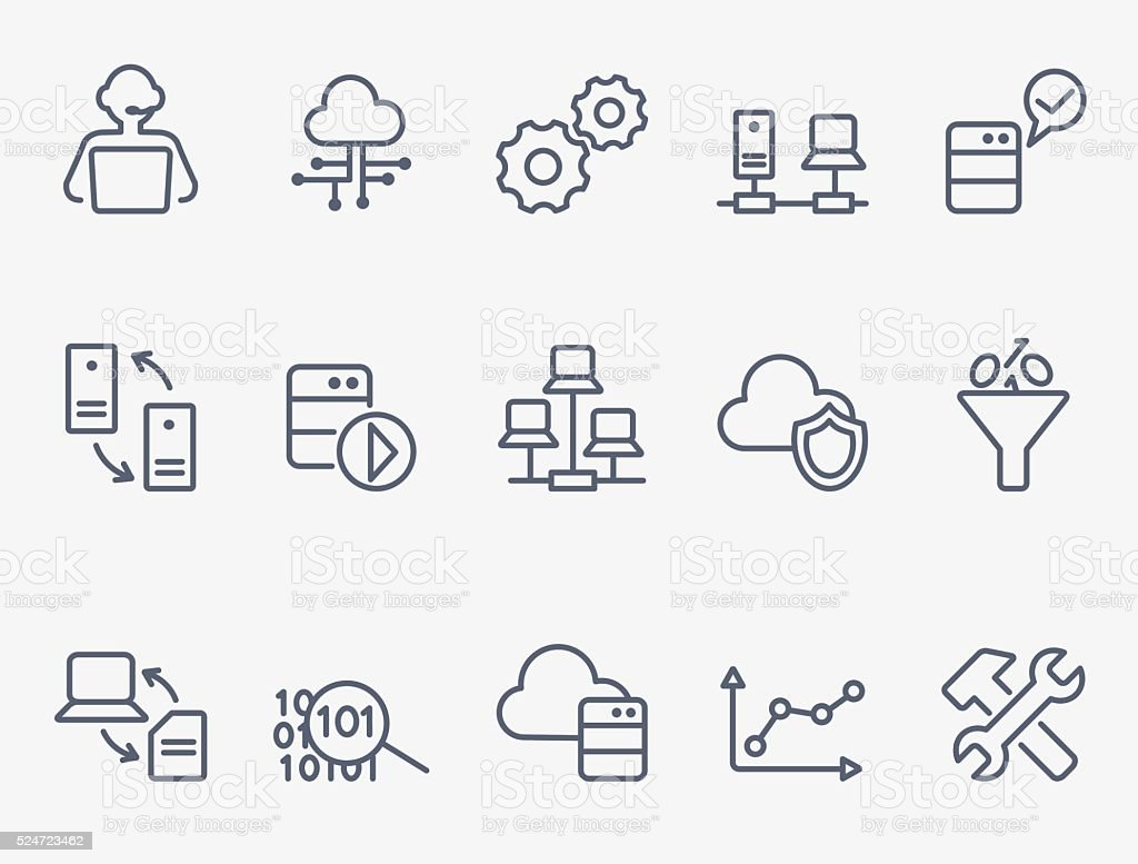 Database icon set vector art illustration