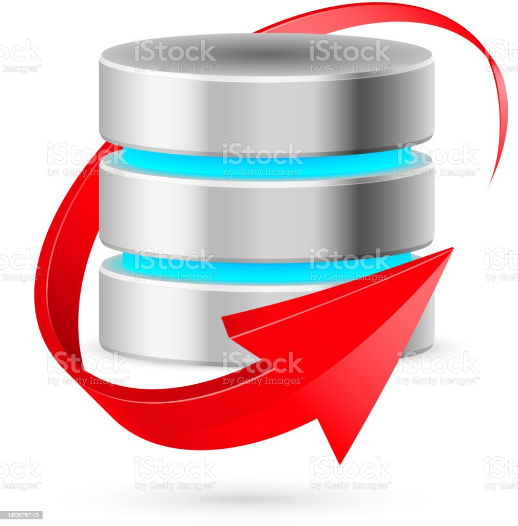Database icon with update symbol. vector art illustration