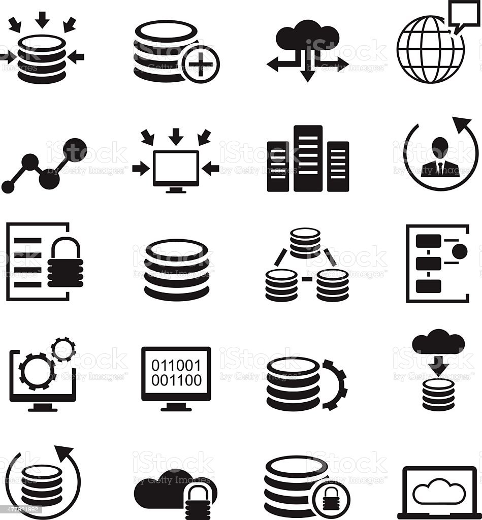 Database icons set vector art illustration