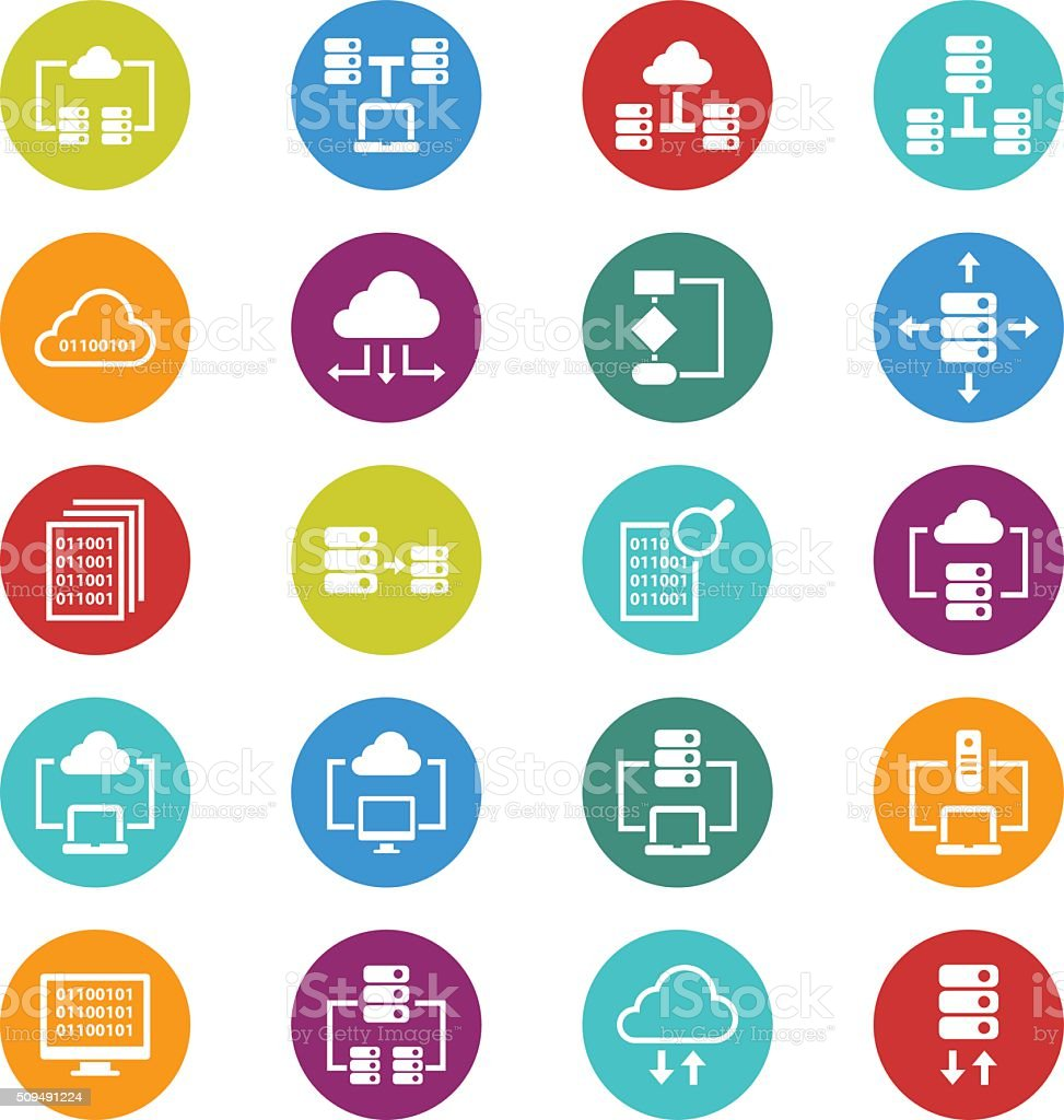 Database icons vector art illustration