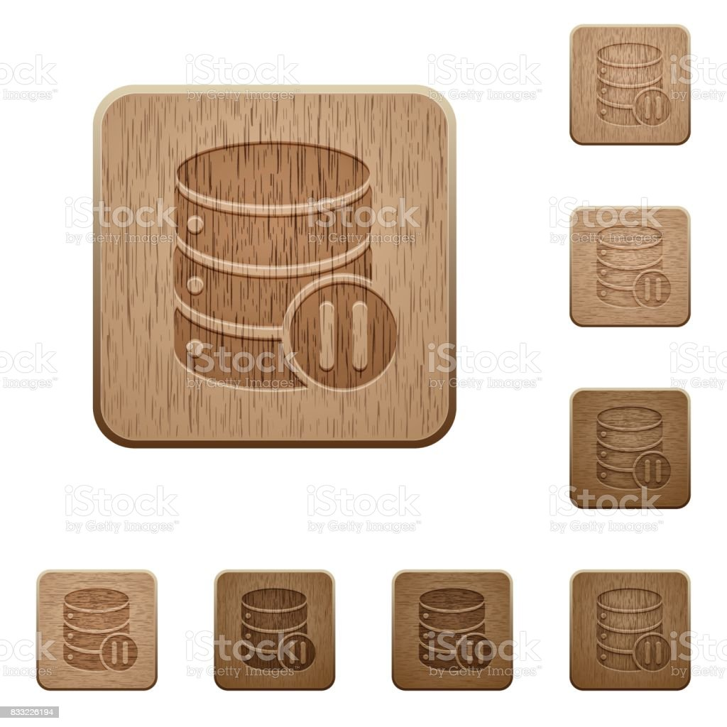 Database macro pause wooden buttons vector art illustration