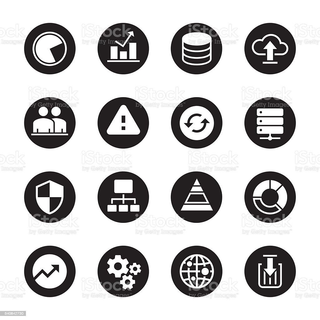 Database Management Icons - Black Circle Series vector art illustration