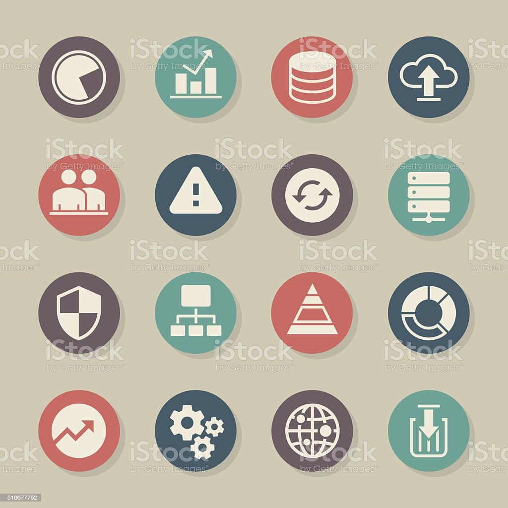 Database Management Icons - Color Circle Series vector art illustration