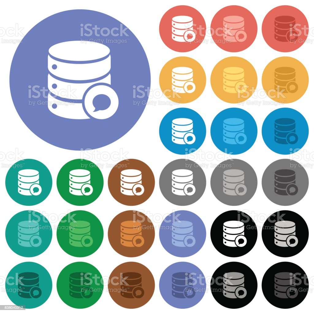 Database messages round flat multi colored icons vector art illustration