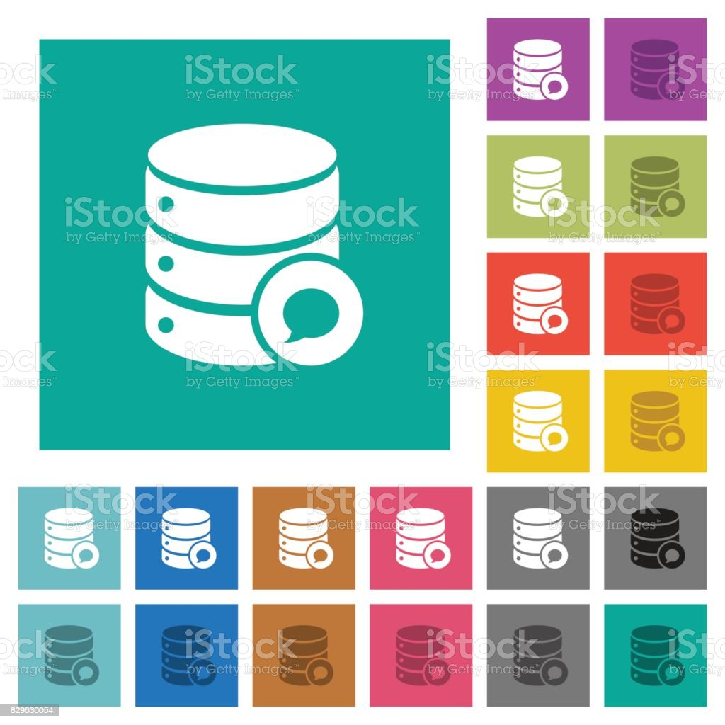 Database messages square flat multi colored icons vector art illustration