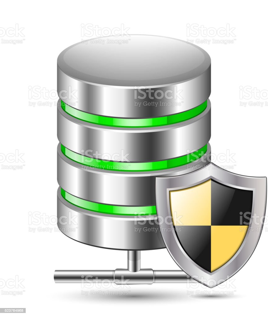 Database Protection Icon. Vector illustration vector art illustration