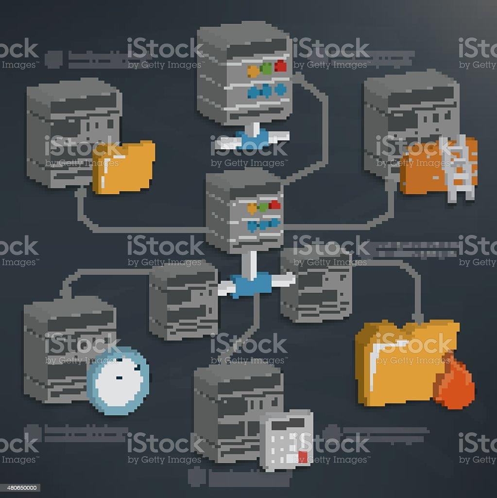 データベースサーバデザイン、3 つの次元、インフォグラフィックデザイン - イラスト素材...