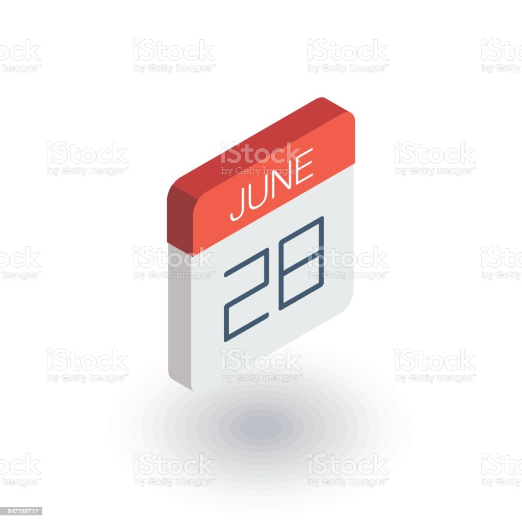 date and time, calendar isometric flat icon. 3d vector vector art illustration