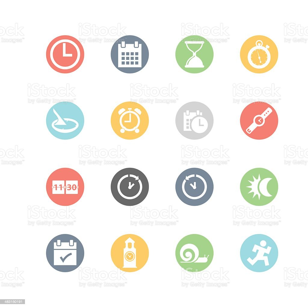 Date and Time Icons : Minimal Style vector art illustration