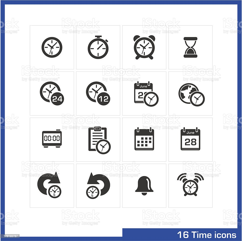 Date and time icons set. royalty-free stock vector art