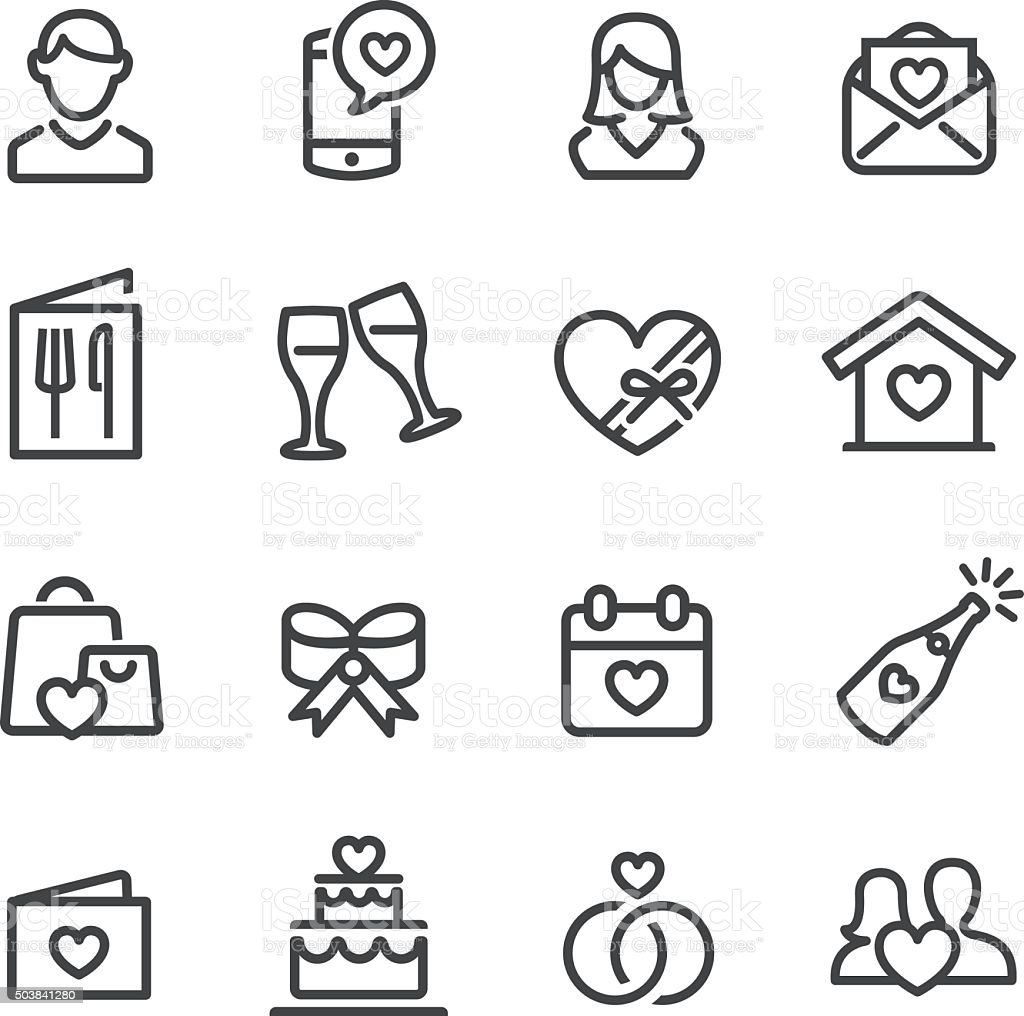 Date and Wedding Icons - Line Series vector art illustration