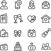 Date and Wedding Icons - Line Series