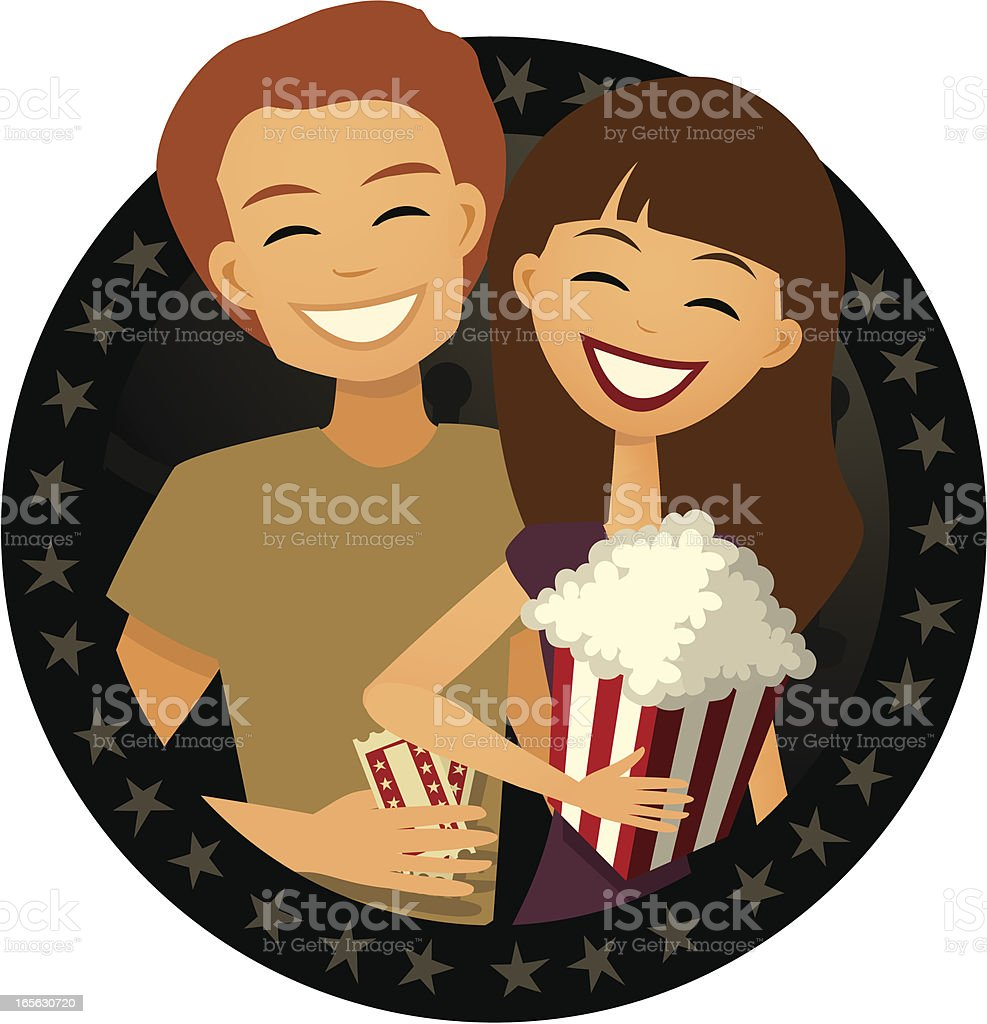 Date: Couple Going to the Movies, Retro Cartoon Style royalty-free stock vector art