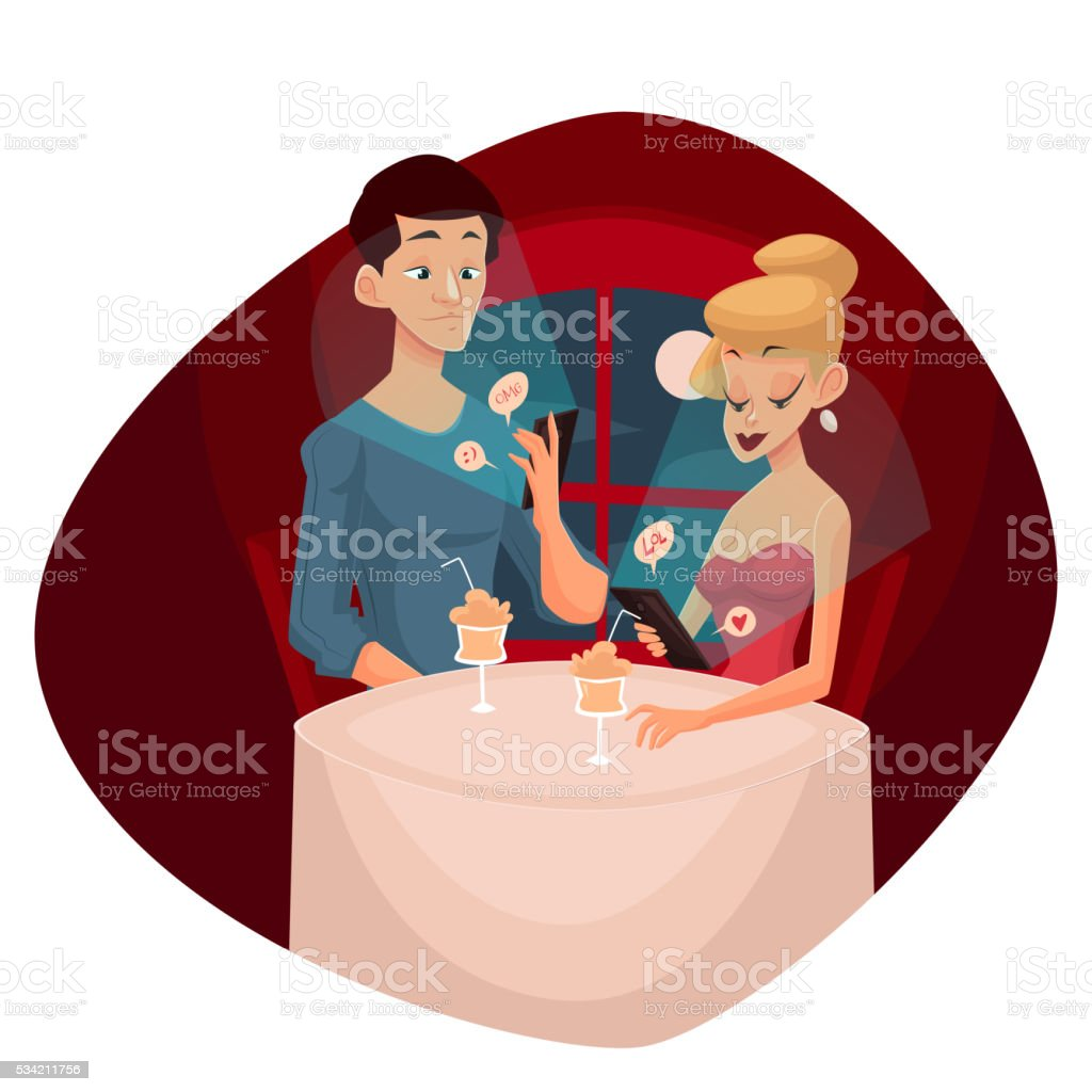 date loving couple and mobile phone vector art illustration