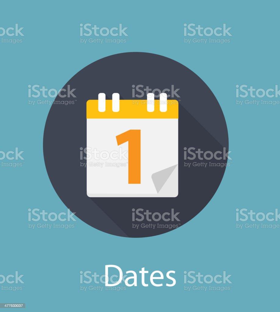 Dates Flat Concept Icon Vector Illustration vector art illustration