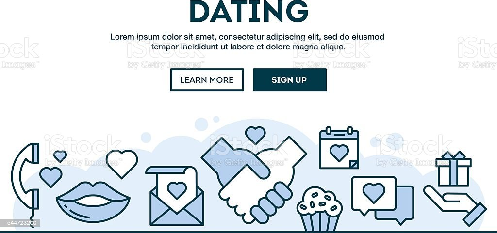 Dating, concept header, flat design thin line style vector art illustration