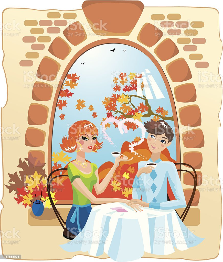 dating couple in the cafe royalty-free stock vector art