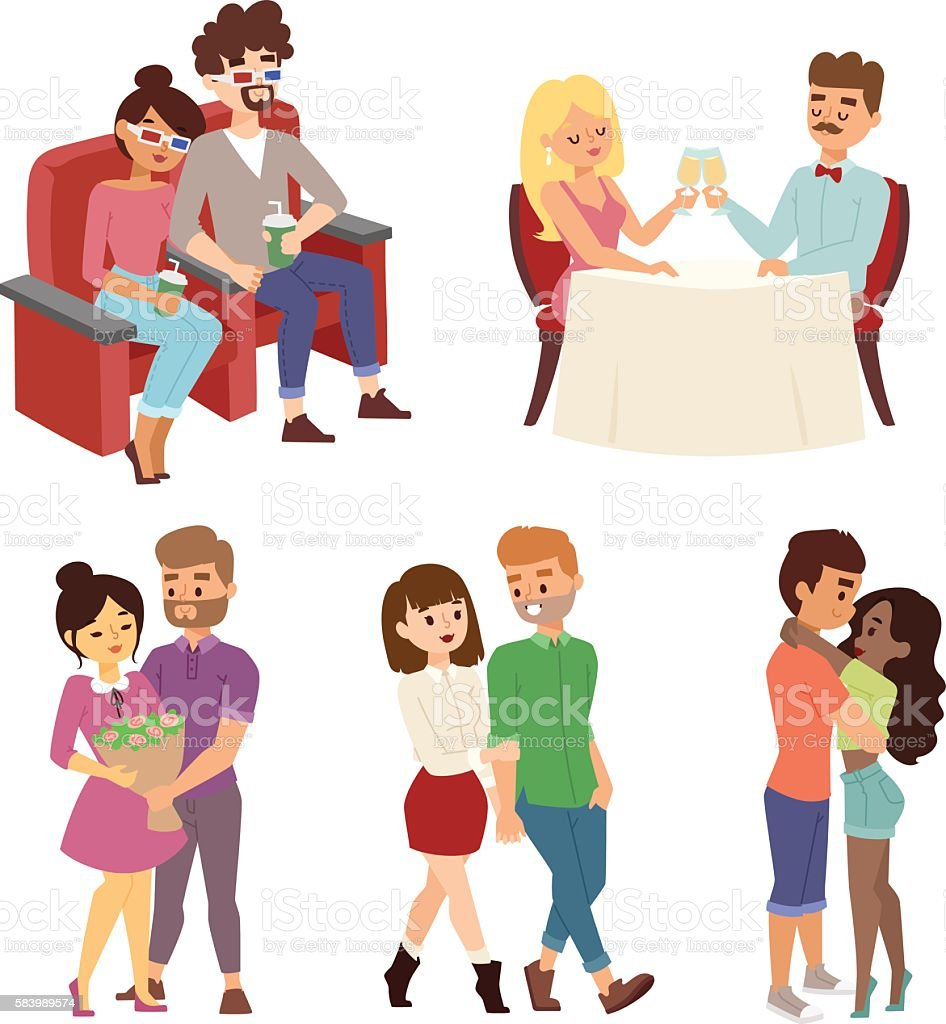 Dating couple vector set. vector art illustration