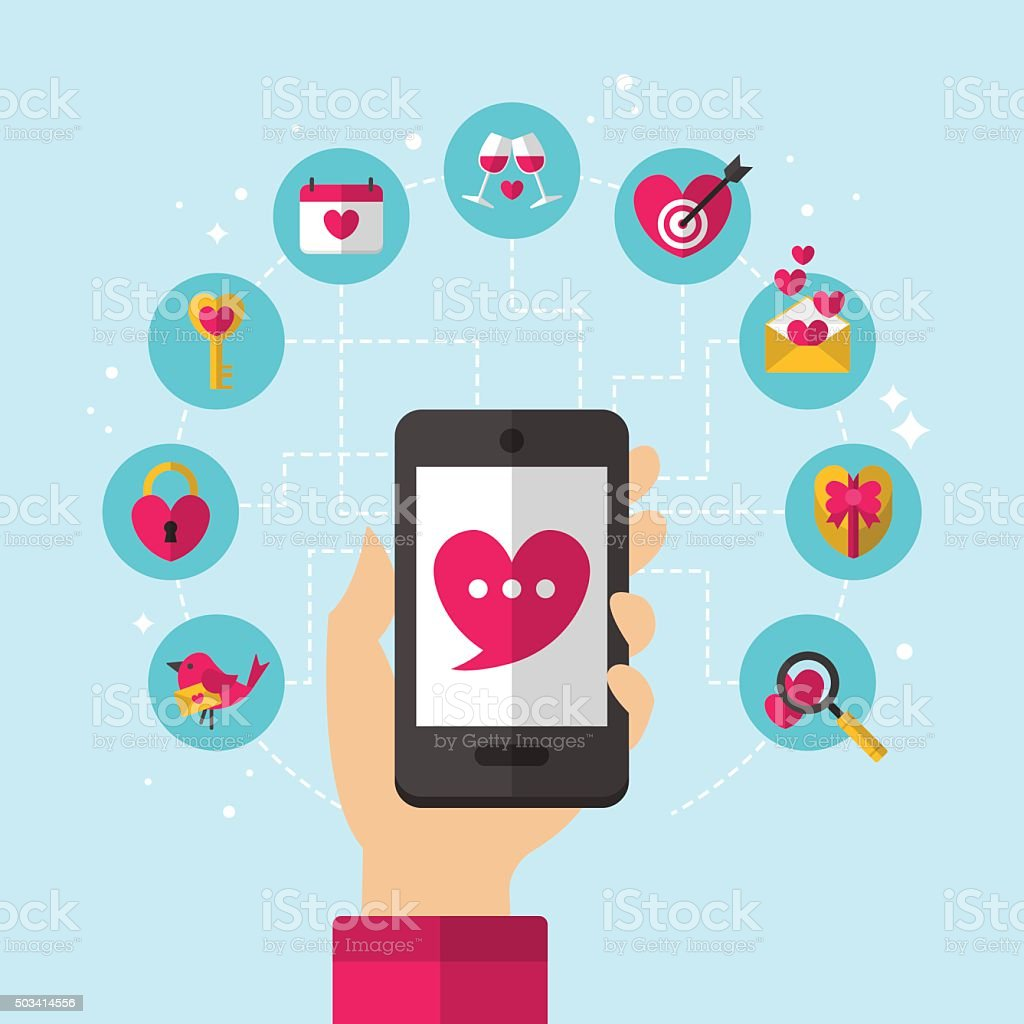 Dating smartphone app concept with flat icons design. vector art illustration