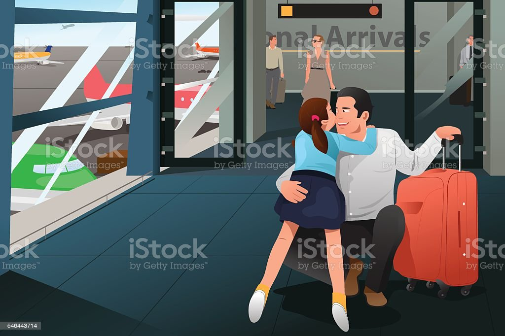 Daughter Hugging Her Father at the Airport vector art illustration