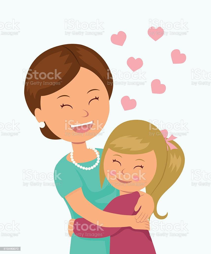 Daughter hugging her mother. vector art illustration