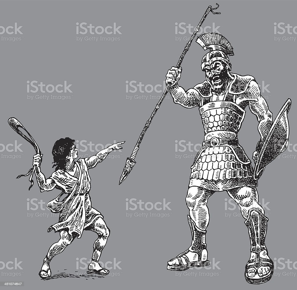 David and Goliath - Bible Story royalty-free stock vector art