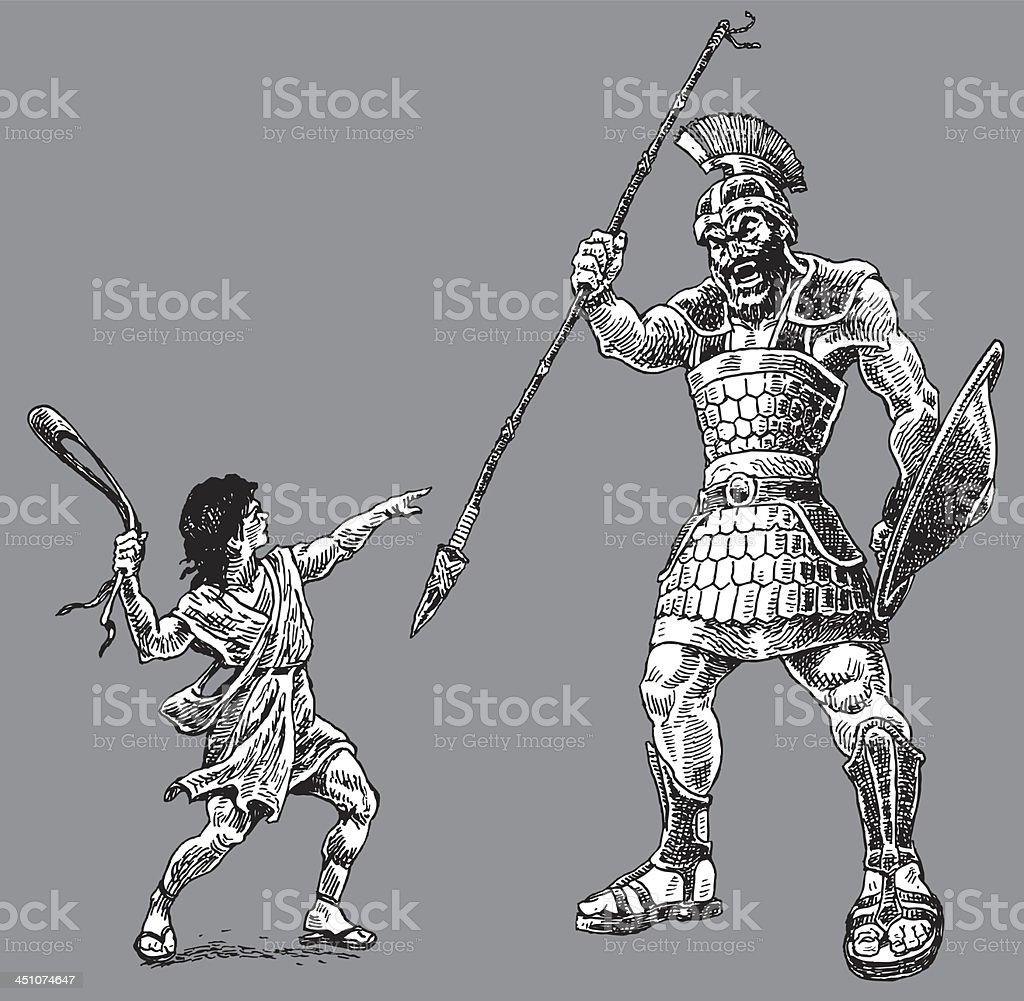 David and Goliath - Bible Story vector art illustration