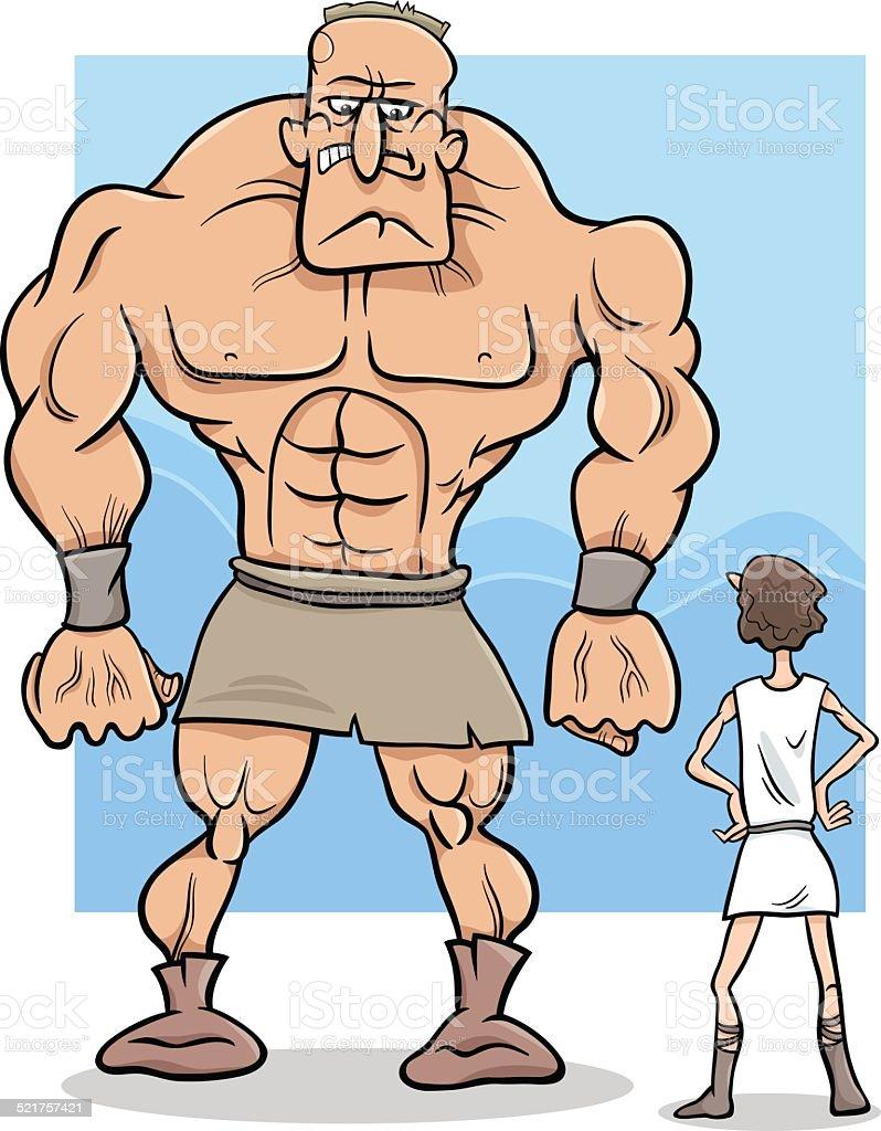 david and goliath cartoon illustration vector art illustration