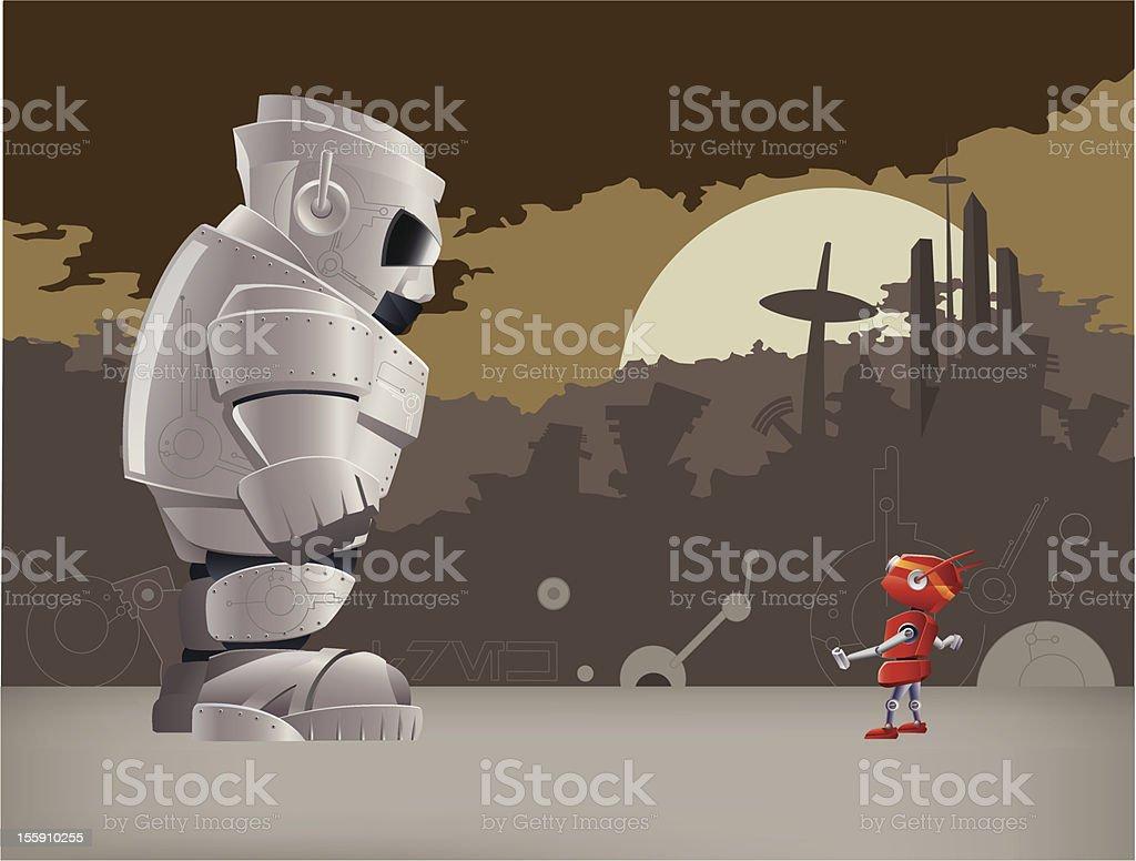 David and Goliath Fighting Robots, Illustration vector art illustration
